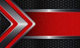Fondo geometrico con una struttura di una freccia zigrinata rossa Immagini Stock