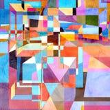 Fondo geometrico dell'acquerello astratto Immagini Stock