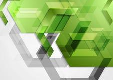 Fondo geometrico di ciao-tecnologia brillante verde Immagine Stock