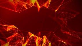 Fondo geometrico di rosso fuoco astratto Stile futuristico di tecnologia Segno al neon Elemento di HUD Elegante Grandi dati illustrazione di stock