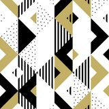 Fondo geometrico dorato di vettore del quadrato del triangolo dell'oro dell'ornamento del modello astratto Fotografia Stock Libera da Diritti
