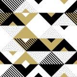 Fondo geometrico dorato di vettore del quadrato del triangolo dell'oro dell'ornamento del modello astratto Immagine Stock Libera da Diritti