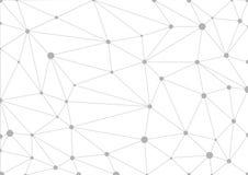 Fondo geometrico grigio astratto con le linee ed i punti collegati illustrazione di stock