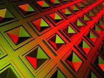 Fondo geometrico luminoso del quadrato rosso di Red Green Fotografia Stock