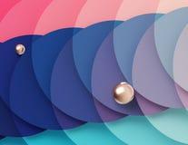 Fondo geometrico multicolore luminoso costituito dall'intersezione dei cerchi del turchese e di rosa illustrazione di stock