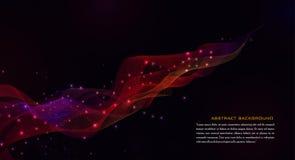 Fondo geometrico rosso dell'estratto con le particelle illustrazione vettoriale