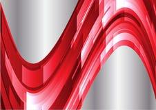 Fondo geometrico rosso e d'argento astratto delle onde Fotografia Stock