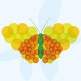 Fondo giallo arancione di vettore e verde astratto della farfalla Immagine Stock Libera da Diritti
