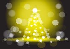 Fondo giallo dell'albero di Natale Sfuocatura, bokeh Immagini Stock Libere da Diritti