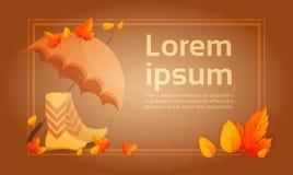 Fondo giallo dell'estratto di Autumn Umbrella Boots Fall Banner della foglia illustrazione di stock
