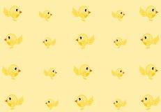 Fondo giallo dell'uccello Fotografia Stock Libera da Diritti