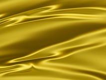 Fondo giallo dorato di struttura del raso 3D Fotografie Stock
