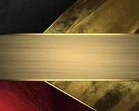 Fondo giallo e nero rosso con il nastro dell'oro Elemento per progettazione Mascherina per il disegno copi lo spazio per l'opusco Immagini Stock Libere da Diritti