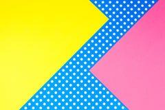 Fondo giallo, rosa e blu geometrico astratto della carta del pois Fotografia Stock