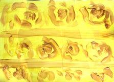 Fondo giallo strutturato dell'estratto dell'acquerello con le linee marroni ed i colpi rotondi illustrazione vettoriale