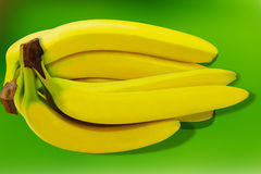 Fondo giallo tropicale della natura isolato frutta di Banane Fotografia Stock