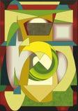 Fondo giallo verde astratto, forme geometriche e curve operate Fotografia Stock