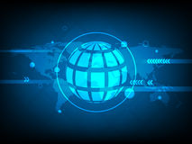Fondo global abstracto de la tecnología digital del círculo del mapa del mundo, fondo futurista del concepto de los elementos de  stock de ilustración