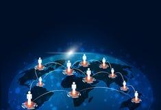 Fondo global de la tecnología de las conexiones Imagenes de archivo