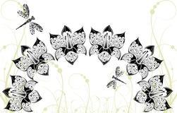 Fondo gráfico con las flores y la libélula Imágenes de archivo libres de regalías