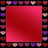 Fondo gráfico del día de tarjeta del día de San Valentín con el surtido de corazones en marco de la frontera stock de ilustración