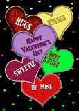 Fondo gráfico del día de tarjeta del día de San Valentín con el surtido de corazones con los mensajes stock de ilustración