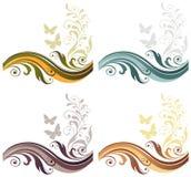 Fondo gráfico floral fijado con la mariposa Imagen de archivo