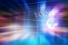 Fondo grafico di notizie di Digital con il globo della terra sul pavimento Fotografie Stock
