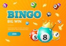 Fondo grande de la tarjeta del triunfo de la loteria 3d del bingo detallado realista del concepto Vector stock de ilustración