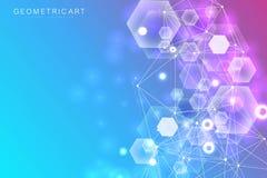 Fondo grande de la visualización de los datos Fondo abstracto virtual futurista moderno Modelo de la red de la ciencia, conectand libre illustration