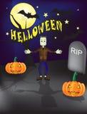 Fondo grave dell'iarda del frankenstein di Halloween con e tombe spettrali e una luna piena illustrazione vettoriale