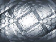 Fondo grigio astratto di concetto 3d di ciao-tecnologia Fotografia Stock Libera da Diritti