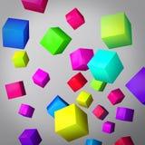 Fondo grigio astratto fatto dei cubi di colore Illustrazione di Stock