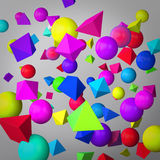 Fondo grigio astratto fatto dei prismi e delle sfere di colore Royalty Illustrazione gratis