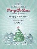 Fondo grigio con la foresta dell'albero di Natale Fotografia Stock