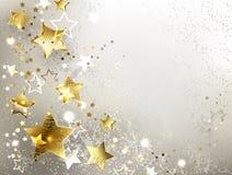Fondo grigio con le stelle d'oro illustrazione vettoriale