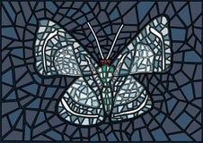Fondo grigio del nero del mosaico del vetro macchiato della farfalla royalty illustrazione gratis