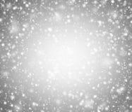 Fondo grigio di inverno con i fiocchi di neve Immagini Stock Libere da Diritti