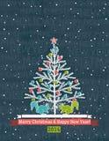 Fondo grigio di lerciume con l'albero di Natale ed il wis Immagini Stock