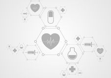 Fondo grigio di tecnologia di salute ed icone mediche illustrazione vettoriale