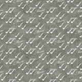 Fondo grigio e bianco di ripetizione del modello delle mattonelle di simbolo musicale Fotografie Stock Libere da Diritti