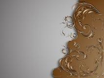 Fondo grigio marrone d'annata con l'ornamento floreale sul lato destro dell'immagine Fotografia Stock