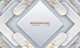 Fondo grigio strutturato con stile 3D e le linee ondulate Fondo grigio astratto del papercut con splendere le linee dorate illustrazione vettoriale