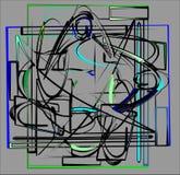fondo gris abstracto, formas geométricas y curvadas de lujo 17-257 azulverde Foto de archivo