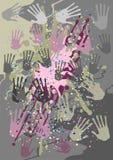 Fondo gris con las impresiones de la mano stock de ilustración