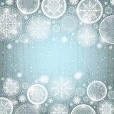 Fondo gris de la Navidad con los copos de nieve Fotografía de archivo libre de regalías