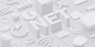 Fondo gris de la red 3d con símbolos del web Imagen de archivo