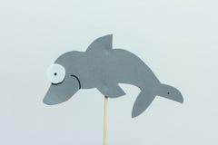 Fondo gris del blanco del delfín de la espuma de Eva Imagen de archivo