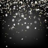 Fondo gris del invierno con nieve Imagenes de archivo