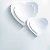 Fondo gris moderno con los corazones del Libro Blanco 3d Fotos de archivo